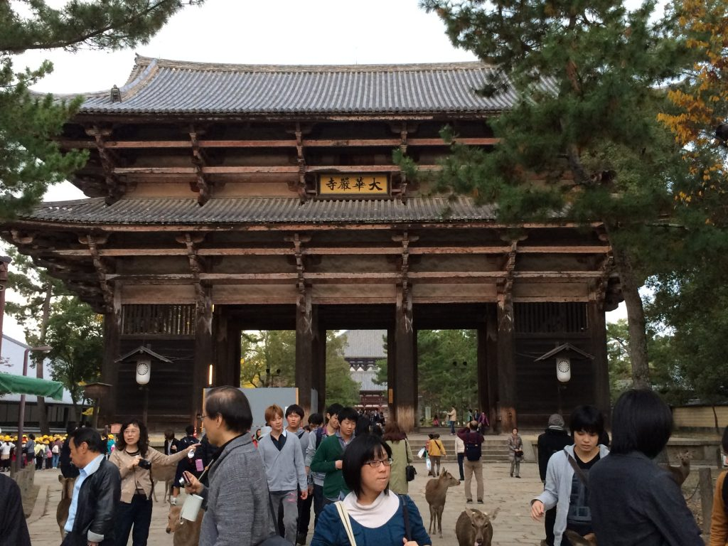 An ENORMOUS wooden gate. The people walking through it look like ants.