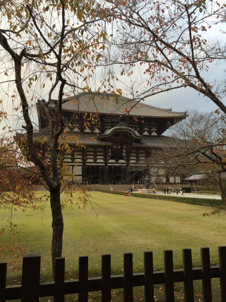 A shot of Todaiji from the outer fence.