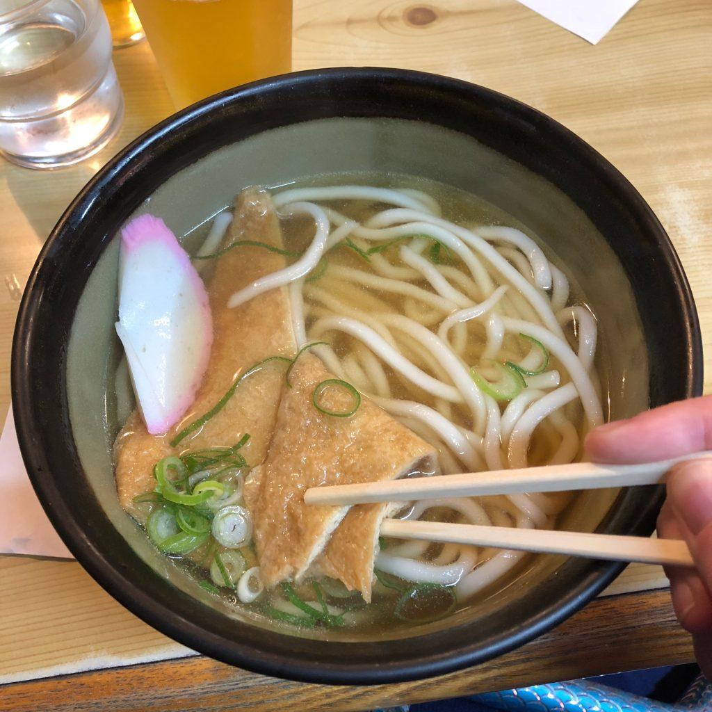 A big bowl of kitsune udon.